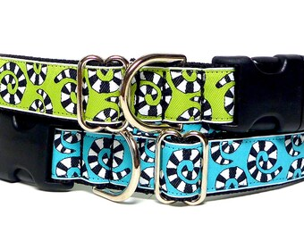 DIZZY dog collar, tag collar, buckle collar, dog collar, house collar, lime green collar, blue dog collar, adjustable collar, dog tag collar