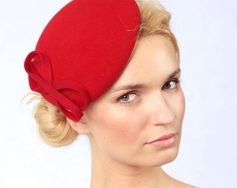 Felt Hat-Beret-Red-Wool Felt