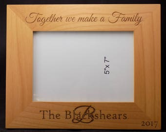 Blended Family Personalized Custom Engraved Photo Frame 5x7 -Alder Wood-Customized ANY way you want!