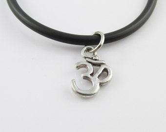Aum Om Symbol Charm Pendant  Necklace Meditation Black Cord