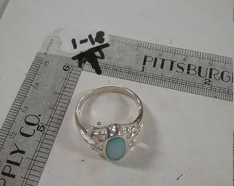 Vintage used sterling silver .925 ring size 11 blue MOP 5.5 grams