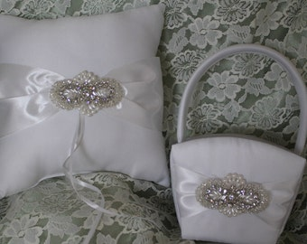 White Ring Bearer Pillow and Flower Girl Basket with Rhinestones-Pearls and Beading