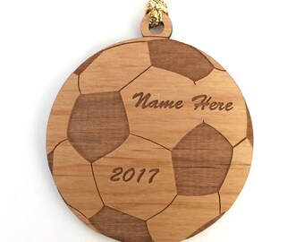Personalized Wood Soccer Ball Ornament