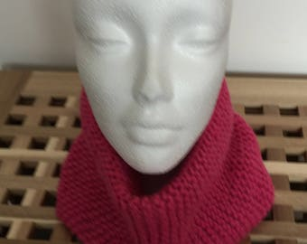 Ready to ship  Lipstick Pink Handknitted Cowl Ladies or Girl