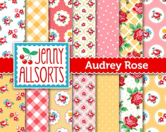 Shabby Chic Digital Paper Audrey Rose - Pink, Yellow and Green - for invites, card making, digital scrapbooking