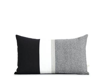 Decorative Pillow, Metallic Silver Stripe Pillow Cover in Black, Cream & Black Chambray by JillianReneDecor, Black and White Lumbar Cushion