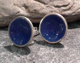 Sterling silver studs, enamel studs, enamel earrings, minimalist earrings, domed earrings, stocking filler, Christmas gift, silver earrings