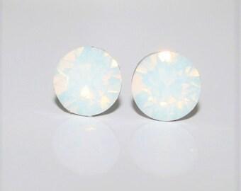 White Opal Ear Studs,Bridal White Studs,Swarovski Stud Earrings 8mm,Halo Stud Earrings,Crystal Stud Earring,Hypoallergenic,Wedding Ear post