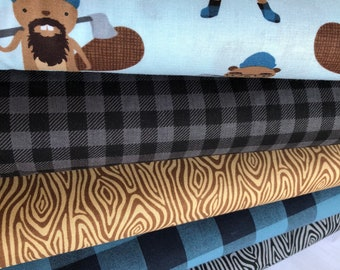Burly Beavers Quilting Cotton Bundle of 5, Hipster fabric, Blue Brown Fabric, Boy Fabric, Animal Fabric, Robert Kaufman Fabrics
