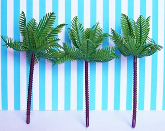 """3 Large Palm Cupcake Toppers 6"""""""