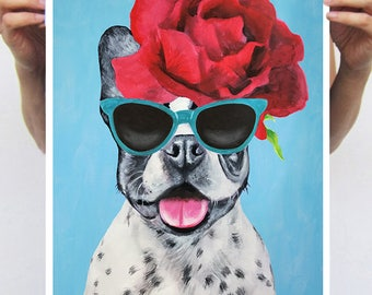 French Bulldog poster, frenchie painting, gift for frenchie lovers, holiday gift, christmas gift, by Coco de Paris: frenchie with flowers