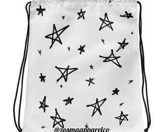 Retro Star Print Drawstring bag