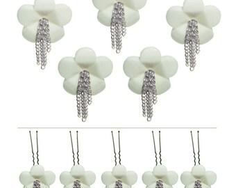 "5 pins hair accessories wedding white flower chains ""Silver waterfall"""