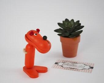 Vintage Wooden Orange Tiger Business Card Holder By Takahashi - Zoo Line Style Bojesen Era Inspired Animal Note Clip Holder