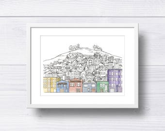 San Francisco Houses on the Hill Print