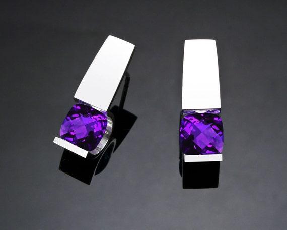 amethyst earrings, February birthstone, amethyst jewelry, purple gemstone, argentium silver, eco-friendly, modern jewelry, tension set -2431