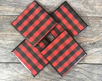"Red and Black Buffalo Plaid ""Paul"" Ceramic Coasters with Black Trim"
