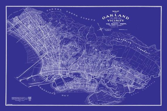 1901 oakland california street map vintage blueprint print publicscrutiny Image collections