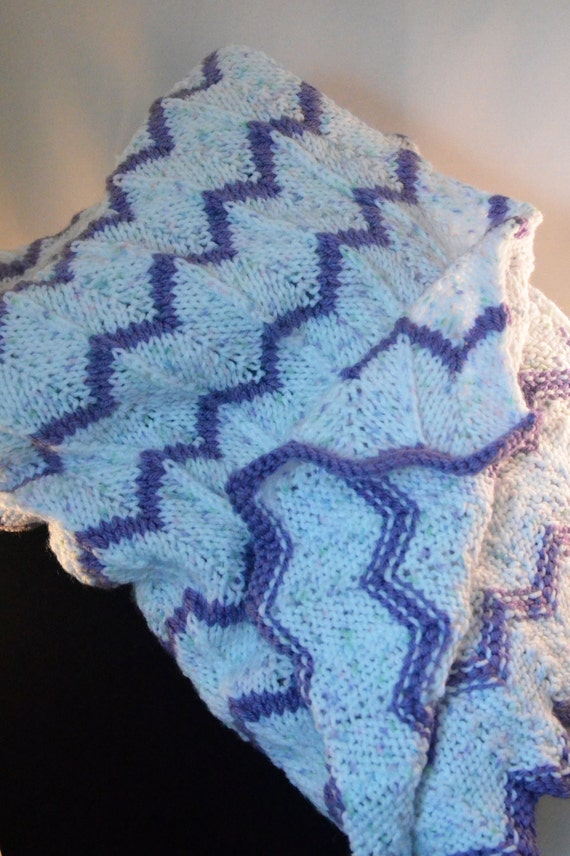 Pastel Speckled White & Purple Chevron Knitted Baby Blanket (LBB001)