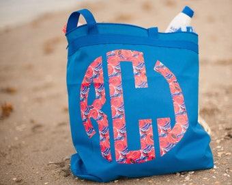 Beach Bag - Zippered Beach Bag - Beach Tote - Blue Beach Bag - Personalized Beach Bag - Patriotic Beach Bag - Waterproof Beach Bag -Monogram