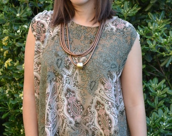Green & beige paisley blouse