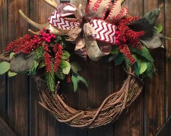 Deer horn Wreath, Christmas Wreath, Grapevine Wreath