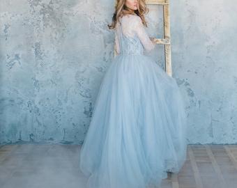 Blue wedding dress,  Tulle wedding dress, Blue lace wedding dress, Light blue wedding dress, Custom Simple Summer wedding dress 0093 // 2017