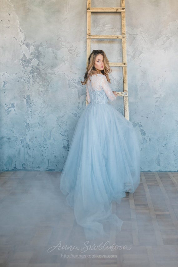 Blue wedding dress Tulle wedding dress Blue lace wedding