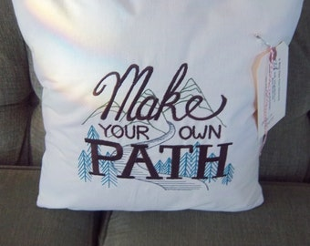 Make Your Own Path Embroidered Pillow