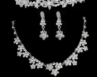 Diamond Color Bridal tiara and Necklace and Earring Set - Wedding, Brides