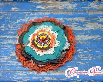 Fiesta Headband, Orange, Brown, Turquoise Fabric Flower Hair Accessory, Single Flower Hair Bow, Baby Girl, Infant Photo Prop