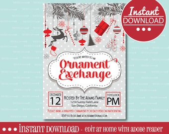CHRISTMAS PARTY INVITATION, Editable, Printable, Ornament Exchange, Christmas, Gift Exchange, Holiday, White Elephant, Party, Digital File