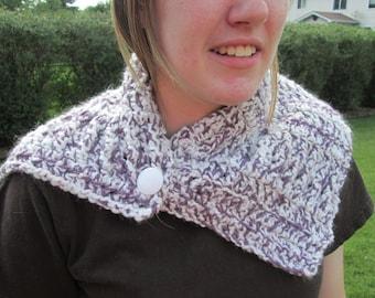 Crochet Neckwarmer Scarf -- Purple and White