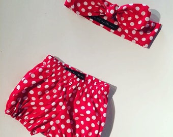 All bloomers and headband headband vintage red white polka dot Poplin. Hand made in France