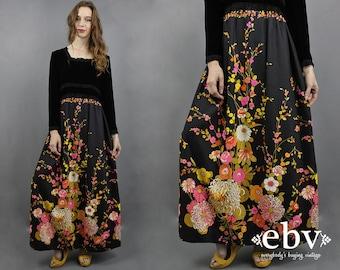 Velvet Maxi Dress Floral Maxi Dress 1970s Maxi Dress 70s Maxi Dress 70s Party Dress Hippie Dress Hippy Dress 1970s Dress 70s Dress M L
