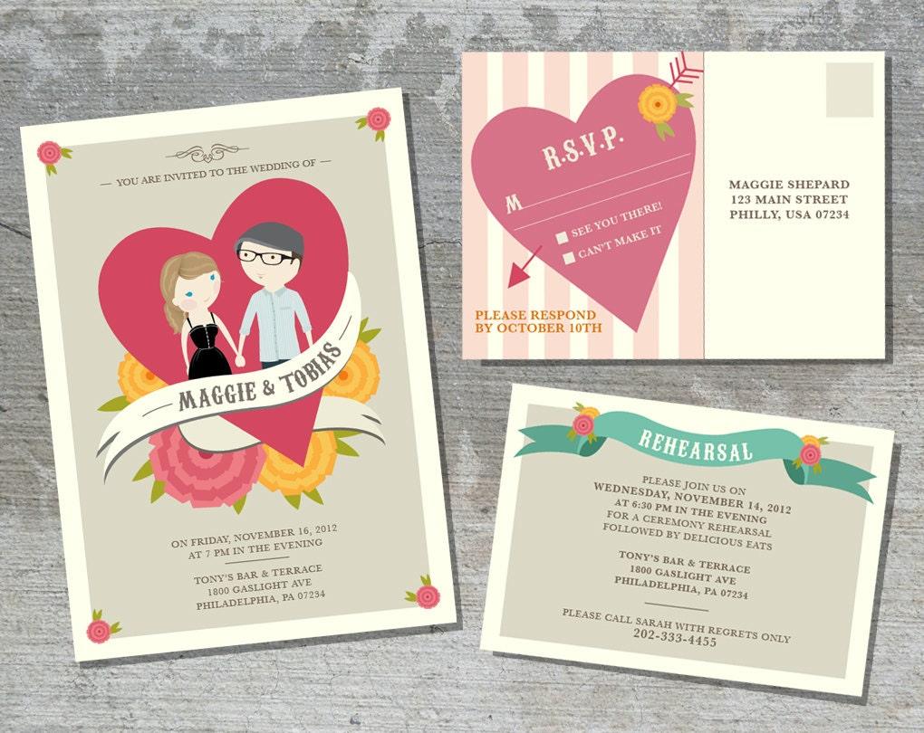 Wedding invitation suite custom cartoon printable design zoom monicamarmolfo Choice Image