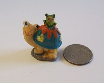 Miniature turtle with frog, Fairy garden or terrariums mini tiny turtle figurine
