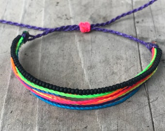 1 string bracelet, bracelet, black bracelet, friedship bracelet, stackable bracelet, wax string bracelet, surfer bracelet - black and neon