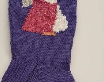 Knitted Lavender Stocking with Cherub design