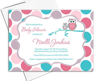 girl baby shower invitations owl baby shower invite girls, pink teal purple polkadots, printable or printed - WLP00731