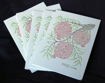 Pomegranates Micrography Greeting Card: Blank Inside