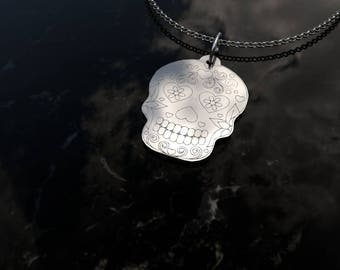 Dead Skull Pendant Necklace .925 Sterling Silver - Sugar Skulls - Cinqo de Mayo - Day of the Dead - Día de Muertos