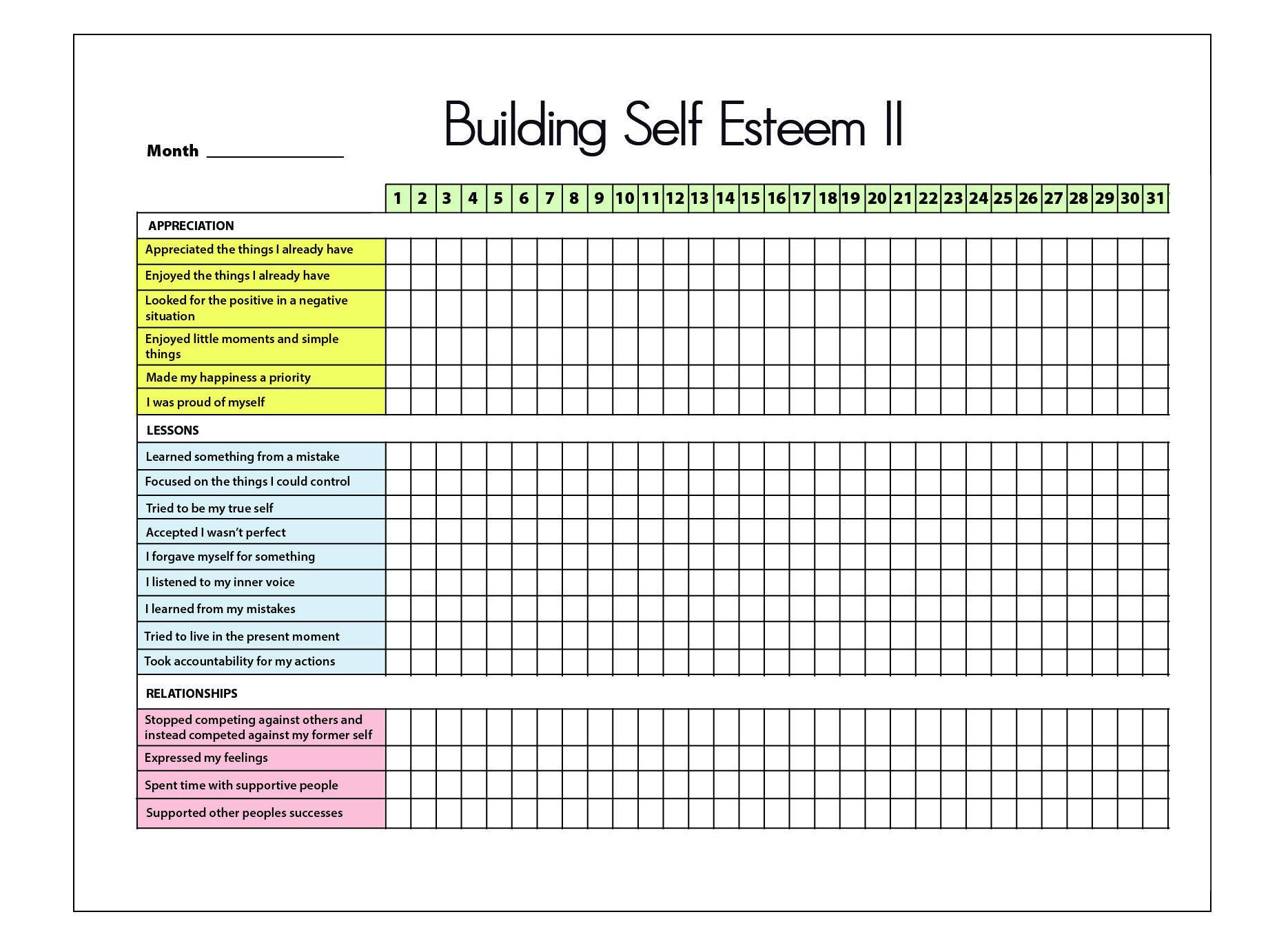 worksheet Printable Self Esteem Worksheets self esteem ii printable tracker journal mental health self
