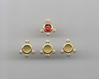 Vintage 5mm 6 pieces Brass Bezel Setting Connectors for round flat-back cab cabochons 4 rings DIY Pendant Necklace Earrings Bracelet Charms