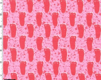 Flannel - Pink Bigfoot Foot Prints from Michael Miller Fabric's Bigfoot Boogie Flannel Collection