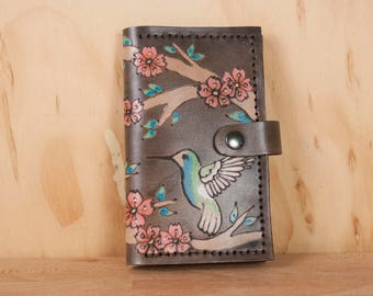 Leather Wallet - Small Womens Wallet with Coin pocket in the May Pattern - Hummingbirds and Cherry Blossoms in Pink and antique black