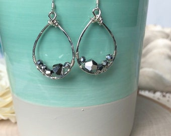 Silver Swarovski Crystal Wire Wrapped Sterling Silver Hoop Earrings