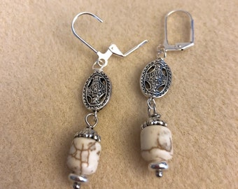 White Magnesite and Silver Lever Back Earrings
