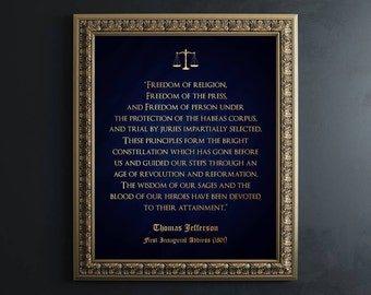 Law School Gift - Lawyer Gift - Gold Foil Print - Thomas Jefferson Quote - Law Office Wall Art - Gift for Law Students Lawyer Art