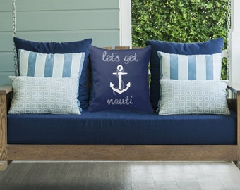 Lets Get Nauti - Decorative Pillow Case, Throw Cushion Cover, Pillow Cover Cover, Decor, Throw Pillow Cover, Cushion Cover